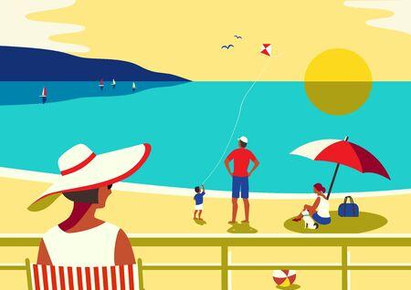 Family seaside leisure relax. Ocean scene view landscape. Hand drawn pop art retro style. Holiday vacation season sea travel leisure. Sea beach recreation. Vector tourist trip advertisement background  イラスト・ベクター素材