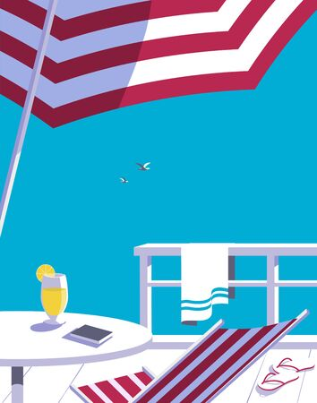 Swimming pool in seashore resort flat color vector  イラスト・ベクター素材