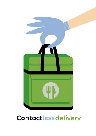 No-contact food delivery bag vector icon. Contactless delivery service online takeout orders cartoon illustration. Courier disposable gloves to carry box with food meal for carefree social distancing