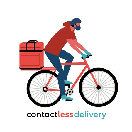 No-contact food delivery rider vector icon. Contactless delivery service online takeout orders cartoon illustration. Bicyclist driver courier in medical mask carries food meal medicine in bag on bike  イラスト・ベクター素材
