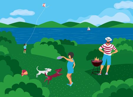 Family barbecue BBQ picnic on nature flat vector. Summer outdoors activity concept. River bank scene cartoon background. Season holiday leisure background. Weekend barbecue of father children, pet