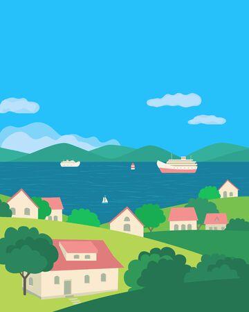 Summer rural green valley landscape flat color vector. Blue river village scenic view poster. Town houses on lake bank cartoon. River boating scene background. Riverside rural community illustration  イラスト・ベクター素材