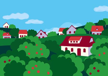 Summer rural green valley landscape flat color vector. farmland village scenic view poster. Town houses in orchard trees cartoon. Country fruite garden scene background. Rural community illustration