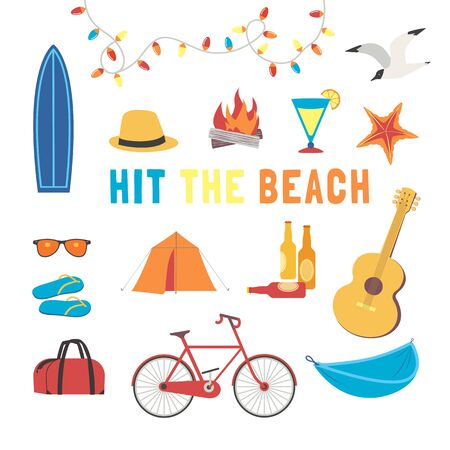 Summer beach fun adventure icon set flat vector