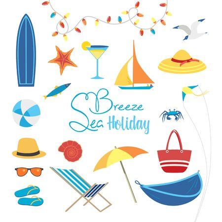 Summer sea beach fun rest icon set flat vector  イラスト・ベクター素材