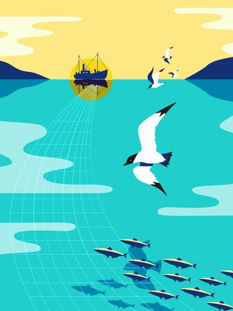 Nautical vintage flat color vector poster