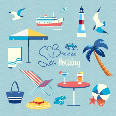 Summer sea beach holiday fancy vector icon set. Leisure relax design element collection. Seaside enjoy background. Vacation time cute cartoon sign illustration. Seashore beach fun resting template Illustration