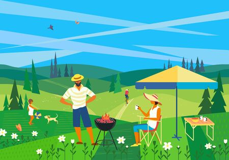 Family barbecue countryside picnic flat vector. Summer outdoors activity concept. Rural scene cartoon background. Season holiday leisure banner background. Weekend BBQ of father, mother, children, dog