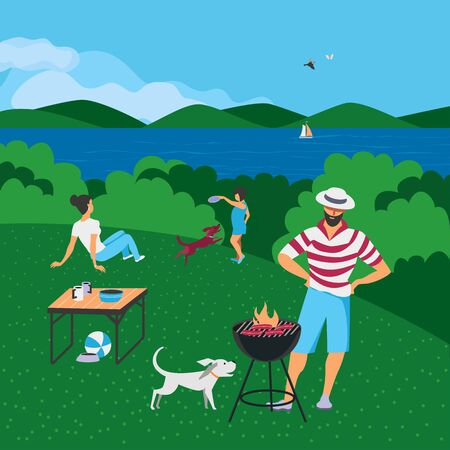 Family barbecue BBQ picnic on nature flat vector. Summer outdoors activity concept. River bank scene cartoon background. Season holiday leisure background. Weekend barbecue of parents, child and dogs