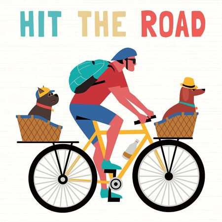 Time for adventure. Cute comic cartoon. Colorful humor retro style illustration. Bicycling travel with pet vector concept. Vacation touring with dogs sport fun leisure activity. Dog days summer poster