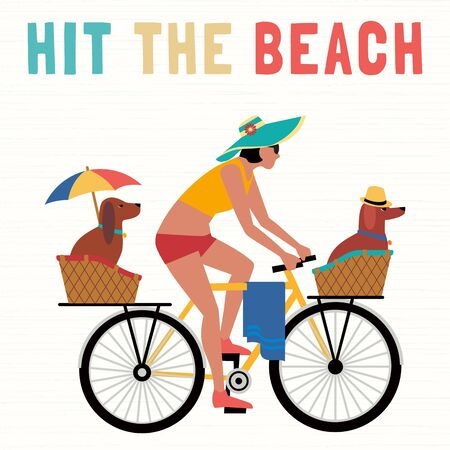 Time for adventure. Cute comic cartoon. Colorful humor retro style illustration. Bicycling travel with pet vector concept. Vacation touring with dogs beach fun leisure activity. Dog days summer poster