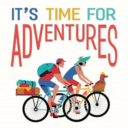 Adventure bicycling travel with pet vector concept Illusztráció