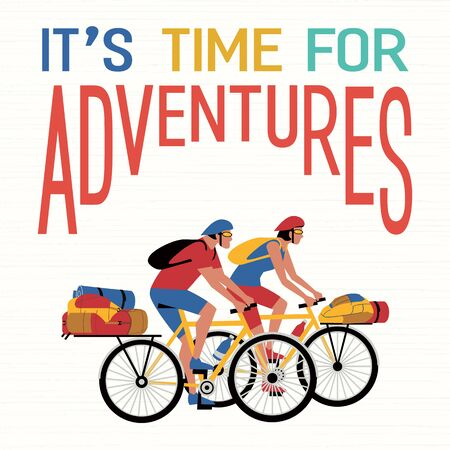 Adventure bicycling travel flat vector concept Illusztráció