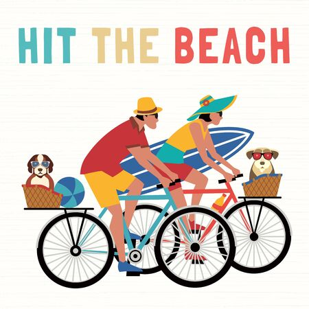 Time for adventure cute comic cartoon. Colorful humor retro style illustration. Bicycling travel with pet to beach vector. Vacation touring with dogs sport fun leisure activity. Dog days summer poster Illusztráció