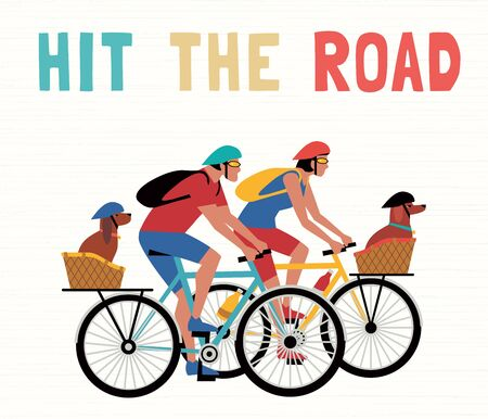 Time for adventure. Cute comic cartoon. Colorful humor retro style illustration. Bicycling travel with pet vector concept. Hitting road vacation with dogs fun leisure activity. Dog days summer poster