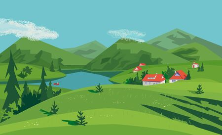 Mountain green valley landscape. Summer season lake scenic view poster. Houses on river bank in Alps mountains. Freehand cartoon outdoors retro style. Vector countryside scene banner background