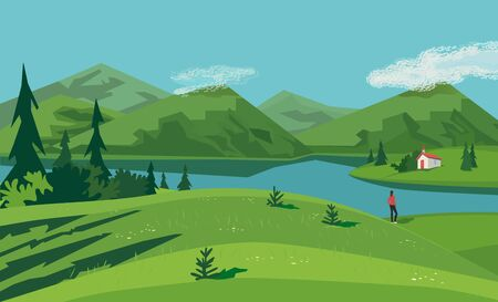 Mountain green valley lake landscape. Summer season scenic view poster. Old church on river bank in Alps mountains cartoon. Wild nature outdoors retro style. Vector countryside scene banner background