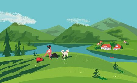 Mountain green valley lake landscape. Summer season scenic view poster. River side village in mountains. Girl, dog travel to countryside cartoon illustration. Vector nature outdoors banner background Illusztráció