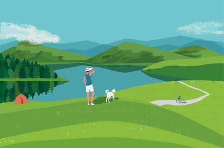 Mountain green valley lake landscape. Summer season scenic view poster. River side in mountains cartoon illustration. Adult couple with dog resting on wild nature . Vector outdoors banner background Ilustração