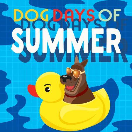 Dog days of summer comic cartoon vector poster