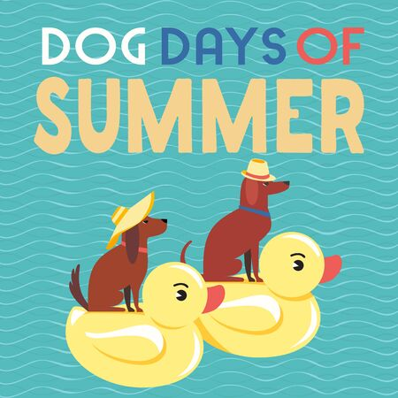 Dog days of Summer Time for adventure. Cute comic cartoon. Colorful humor retro style. Canine in sunglasses enjoy beach leisure relax. Summertime vacation journey. Vector banner background template