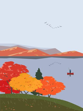 Autumn mountains lake landscape flat vector