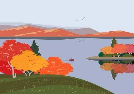 Autumn nature landscape. Colorful minimal cartoon. Fall season banner background. Boat on calm river water, red maple autumn hill. Alps mountain valley lake scenic view. Outdoors vector Illustration Vettoriali