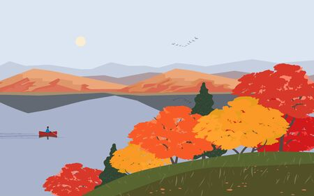 Autumn nature landscape. Colorful minimal cartoon. Fall season banner background. Boat on calm river water, red maple autumn hill. Alps mountain valley lake scenic view. Outdoors vector Illustration Ilustração