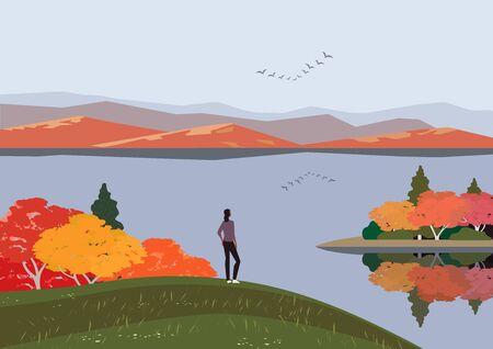 Autumn mountains lake landscape flat color vector Ilustração