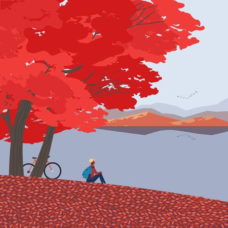 Autumn nature landscape. Colorful seasonal cartoon. Fall season banner background. Enjoy of calm river water, red maple autumn hill. Alps mountain valley lake scenic view. Outdoors vector Illustration
