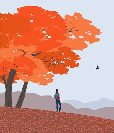 Autumn nature landscape. Colorful scene cartoon. Fall season countryside scene banner background. Girl enjoy calm scenic view, red maple autumn hill. Alps mountain valley outdoors vector Illustration