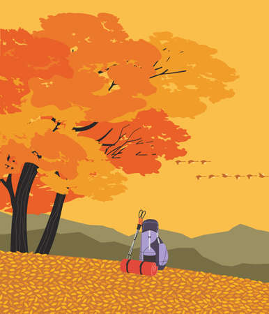 Autumn mountains hiking flat color vector poster