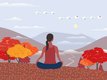 Woman exercise yoga on nature flat color vector. Autumn outdoors relax cartoon. Yoga relaxing pose on calm mounts valley. Fall season scenic view landscape illustration. Healhty lifestyle background
