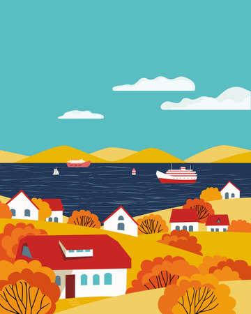 Autumn village river landscape flat color vector