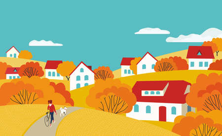 Autumn countryside landscape flat color vector