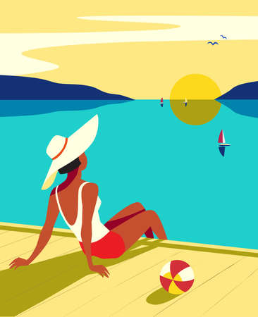 Vacation travel to seaside vector poster