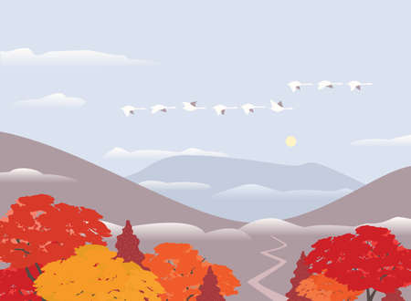 Autumn mountains valley flat vector background