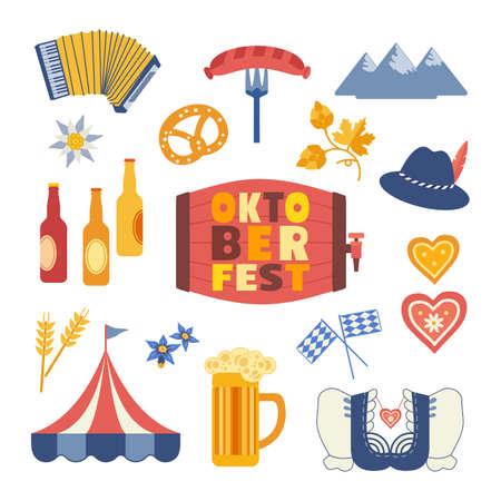 Oktoberfest cute flat color vector icon collection Ilustração