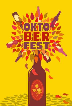 Oktoberfest flat color poster background template Ilustração