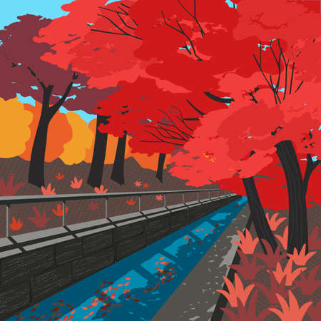 Hand drawn fallen trees alley vector poster