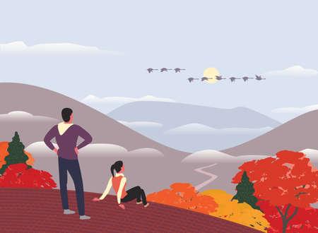 Autumn mountains hiking concept flat color vector Ilustração