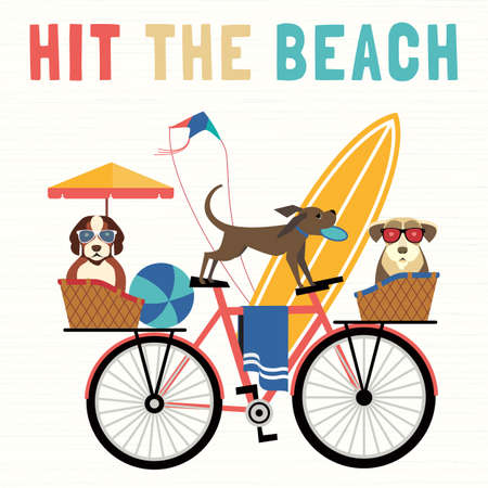 Adventure bicycling travel of dogs vector concept