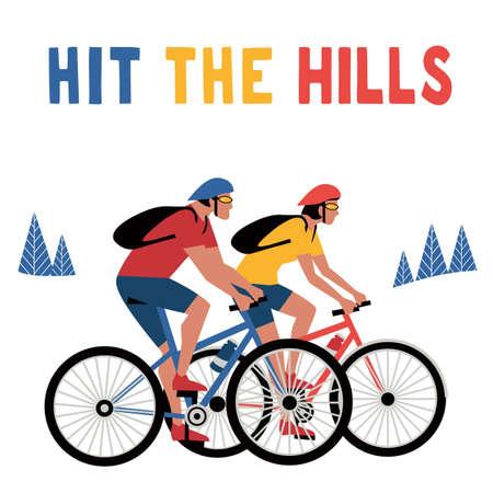 Mountain biking adventure flat color vector poster