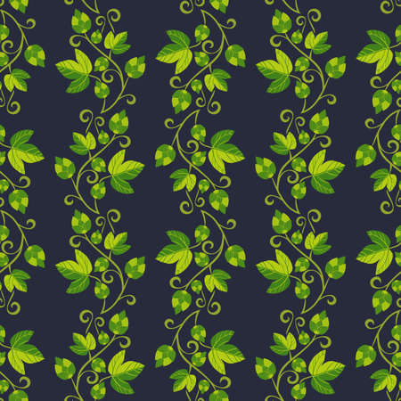 Hop plant hand drawn seamless vector pattern