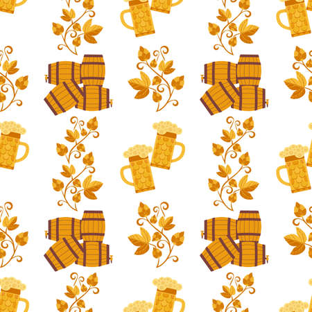 Craft beer icon flat color vector seamless pattern