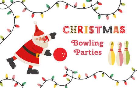 Template Design Poster Christmas bowling vector Ilustração