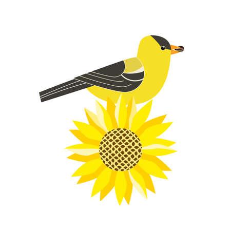 Goldfinch on sunflower cute cartoon vector icon
