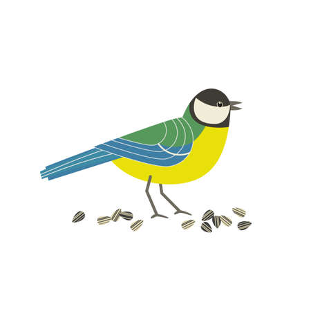Great tit bird cute cartoon flat color vector icon