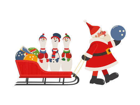 Comic Santa and bowling pins in sleigh vector icon Ilustração