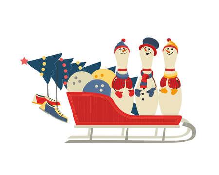 Cute Christmas bowling pins in sleigh vector icon Ilustração